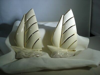 Vintage MCM Wall Pocket Vases , Ceramic Pair Of Ships Nautical Gold And White
