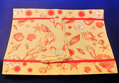 NEW - Set of 6 Linen Placemats with Matching Napkins - Yellow w/ Coral Shells