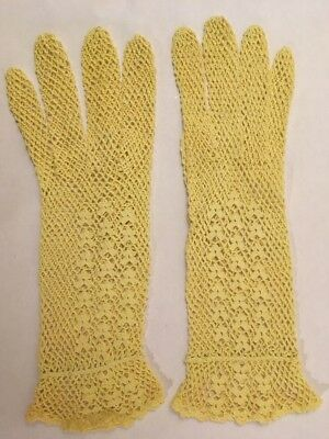 Pair of Yellow Antique Hand Crocheted Victorian Gloves Unused