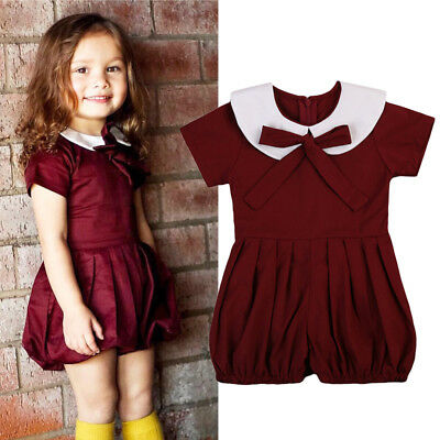 Kids Baby Girl Cotton Ruffled Romper Bodysuit Jumpsuit Sunsuit Clothes Outfits
