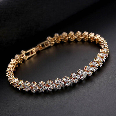 Jewelry Wedding Women Zircon Diamante Sparkling Silver Crystal Bangle Bracelet