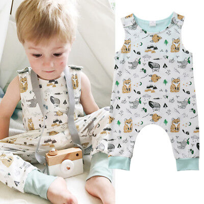 Kids Baby Boy Girls Cotton Sleeveless Romper Jumpsuit Playsuit Outfit Clothes UK