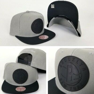 info for 7cf1c 26618 Mitchell   Ness NBA Grey   Black Metal Badge Logo Brooklyn Nets snapback  Hat Cap