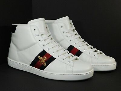 3ef9e906f1a Men s GUCCI New Ace Bee High-Top White Leather Sneakers Size 11G  12US