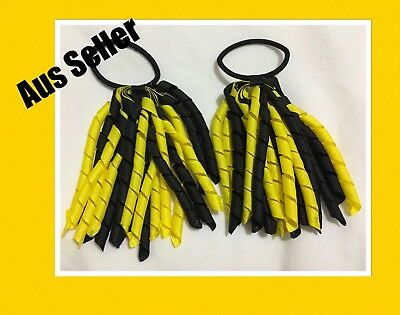 2x New Girls Curly Ribbon Corker Korker Hair Tie * Black And Yellow *