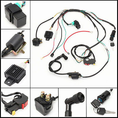 COMPLETE ELECTRICS ALL WIRING HARNESS WIRE STATOR For ATV QUAD 50CC on atv battery, atv turn signal switch, atv transmission, atv fuel filter, atv transfer case, atv safety harness, atv air filter, atv carburetor, atv accessories, atv license plate bracket,