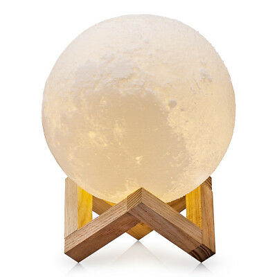 Dimmable 3D Magical Moon Lamp Night Light LED Moonlight Table Desk Home Decor