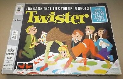 TWISTER Original Vintage Milton Bradley Board Game Mat Spinner and Instructions