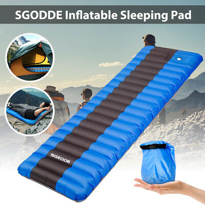 SGODDE Ultralight Inflatable Sleeping Pad Air Mat Mattress Outdoor Camping + Bag