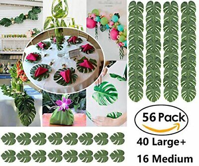 Palm Leaf,40pc Large Tropical Monstera Leaf,16pc Medium Artificial Jungle Leaves