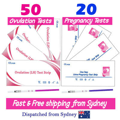 50x Ovulation Tests 20x Pregnancy Test Strips 10 Urine Cups Fertility OPK Kits