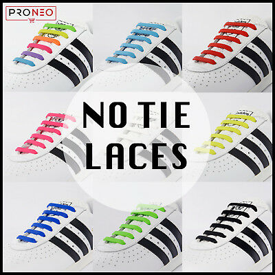 PRONEO elastic No Tie Shoe Laces Silicone Shoelaces For Adults & Kids Trainers