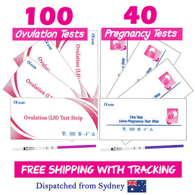 100x Ovulation Tests+40x Pregnancy Tests hCG LH Urine Strips Fertility OPK Kits