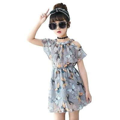 Girls Butterfly Print Cold Shoulder Elastic Waist Grey Chiffon Dress Age 3 - 10