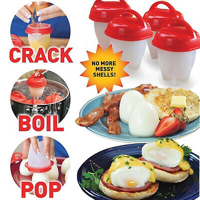 6PCS Food grade Silicon Egg Boiler Hard Boiled Egglettes Cooker Kitchen Tool@@