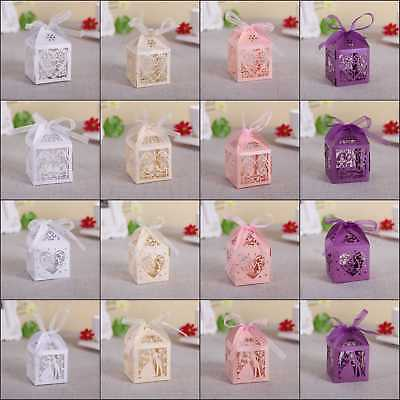 100 Hollow Love Heart Favor Ribbon Gift Box Candy Boxes Wedding Party Favor