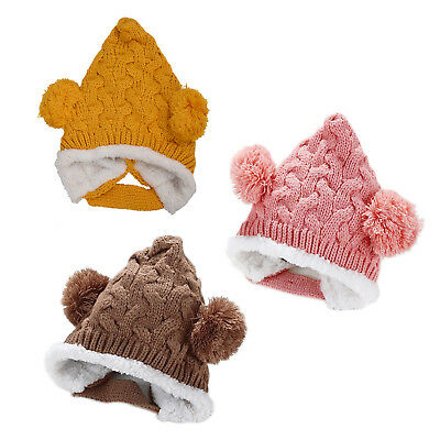 Keep ear warm!Baby Bonbon Pointed Knit cap knit hat Girl boy baby kids chil M9U6