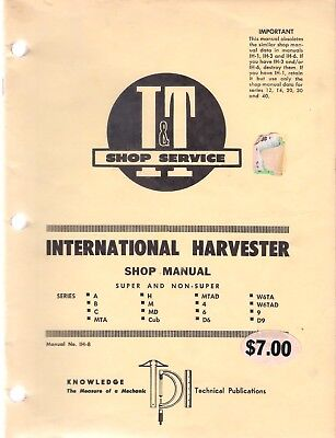 I & T International Harvester Shop Manual For 16 Tractors