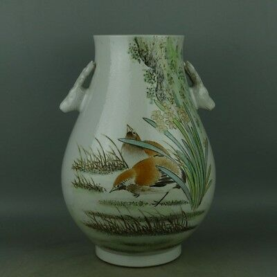 Large Chinese Antique Famille Rose Porcelain Two ears ZUN Vase Jar