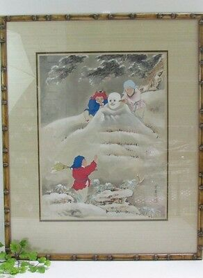 Japanese Ukiyo Woodblock Print - Children Building Snowman Bamboo Frame- SIGNED!