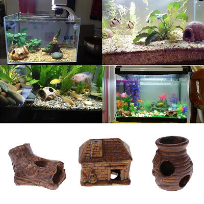 Aquarium Fish Reptile Habitat Vivarium Decor Lizard Snake Hidden Cave DIY Decor