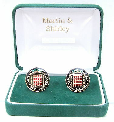 1964 Threepence cufflinks real coins in Black & Gold