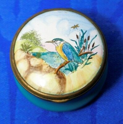Bilston and Battersea Enamels Halcyon Days Small lidded enamel trinket box bird