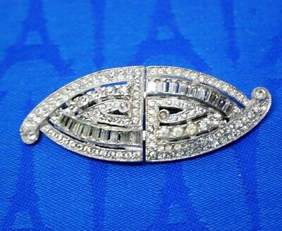 Antique Cohn + Rosenberger - Coro Pave Rhinestone Duette Dress Clips, Brooch TT