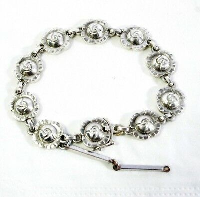 Georg Jensen Denmark Sterling Silver Bracelet +dangle, safe clasp Vintage 50s TC