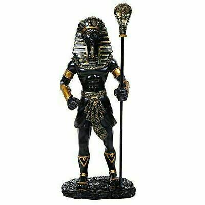 "Ancient Egyptian King Tut With the King Cobra Sceptre Figurine 12""H (Color)"