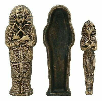 Bronzed Small Pharaoh King Tut Sarcophagus With Mummy Statue Egyptian Decor