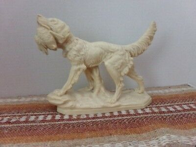 Signed Santini Norleans Italy English Setter/Retriever Duck Hunt Dog Figurine