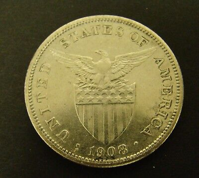1908-S PHILIPPINES PESO  SILVER    Foreign Coin   One Peso   USA