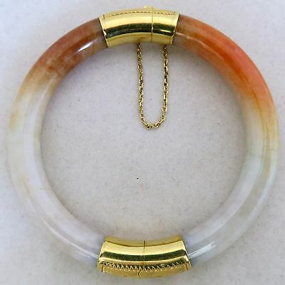 "Chinese 14K Gold, Orange & White JADEITE Jade Bangle Bracelet  (42.9g, 6.9"")"