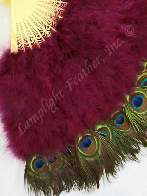 Feather Fan Peacock deluxe Burgundy per Each