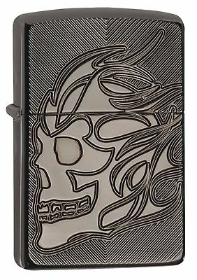 Zippo 29230 Armor Black Ice Deep Carve Skull Lighter