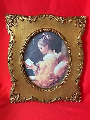 Vintage Homco Print Young Girl Reading Ornate Antique Gold Frame Victorian Chic