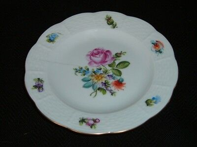 Herend Porcelain Small Hand Painted Plate Pink Rose & Floral Spray A/F