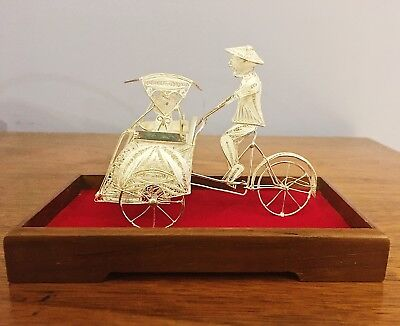 Antique Silver Plated Filigree Rickshaw Man on Bike Bicycle - Original Box