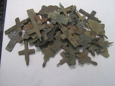 Metal detector finds.Mix lot  ancient crosses (The age of 17-19) 50 pieces. N1