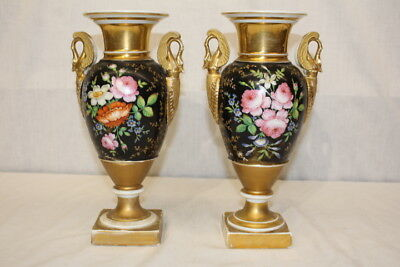 Pair of French Old Paris Hand Painted Swan Gilt Porcelain Mantel Urns; C. 1810;