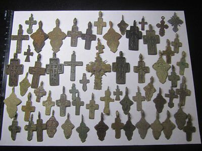 Metal detector finds.Mix lot  ancient crosses (The age of 15-19) 60 pieces.