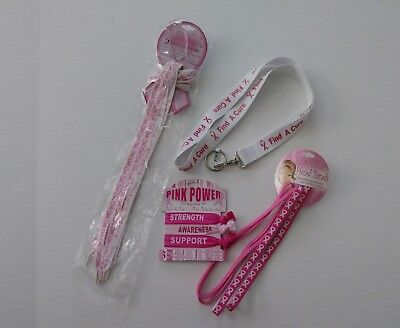 Breast Cancer Awareness shoe laces lanyard hair ties/wrist ties headbands New