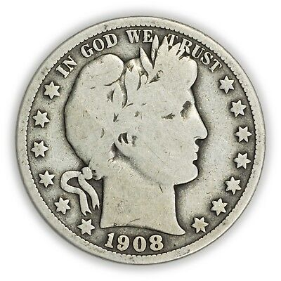 1908 Barber Half Dollar, Large, Early Type, Silver Coin [3732.03]