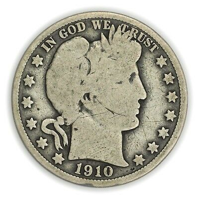 1910 Barber Half Dollar, Large, Early Type, Silver Coin [3732.18]