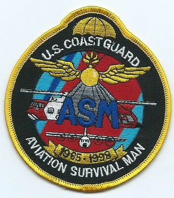 USCG United States Coast guard patch ASM Aviation Survival Man 4-1/8X3-3/4
