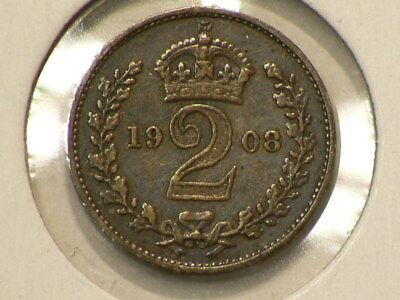 1908 Great Britain Maudy Silver 2 Pence KM#796 #G388