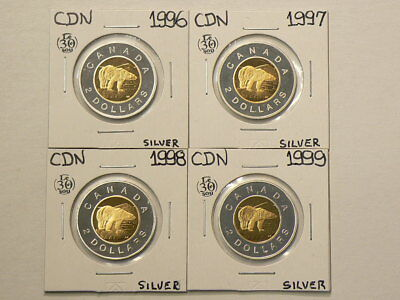 2006(1996) 1997 1998 1999 Canada Silver $2 Proof Dollars Lot of 4 Coins #G365