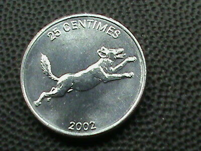 CONGO   25 Centimes   2002   UNC   DOG   ,   $ 2.99  maximum  shipping  in  USA