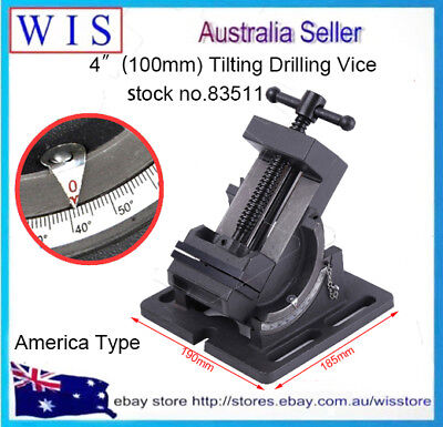 "Guide Rod Type Tilting Angle Vice 0-90° Tilt 4"" Drilling Vise Fixture Flat Tongs"